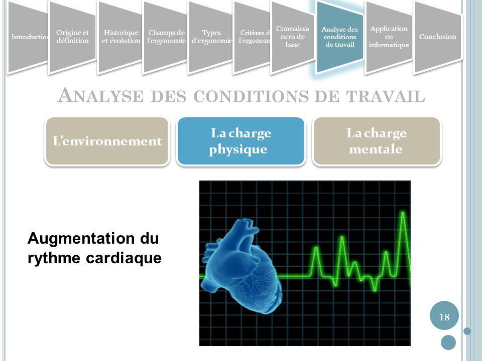18 A NALYSE DES CONDITIONS DE TRAVAIL Lenvironnement La charge physique La charge mentale Augmentation du rythme cardiaque