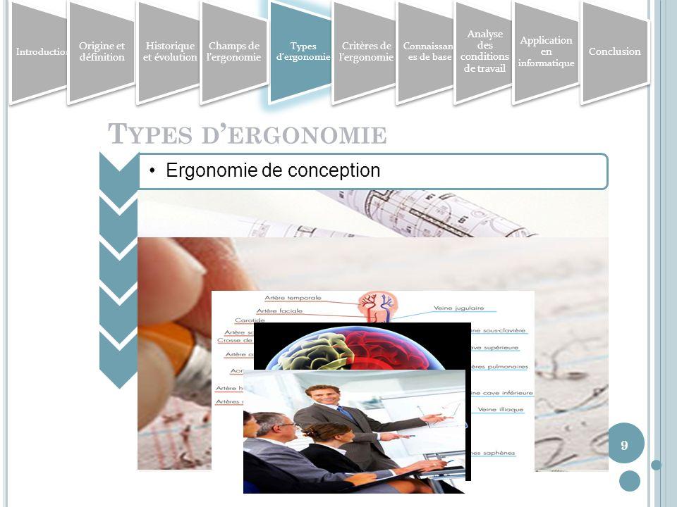 9 T YPES D ERGONOMIE Ergonomie de conceptionErgonomie de correction Ergonomie physique / physiologiqueErgonomie cognitive Ergonomie organisationnelle