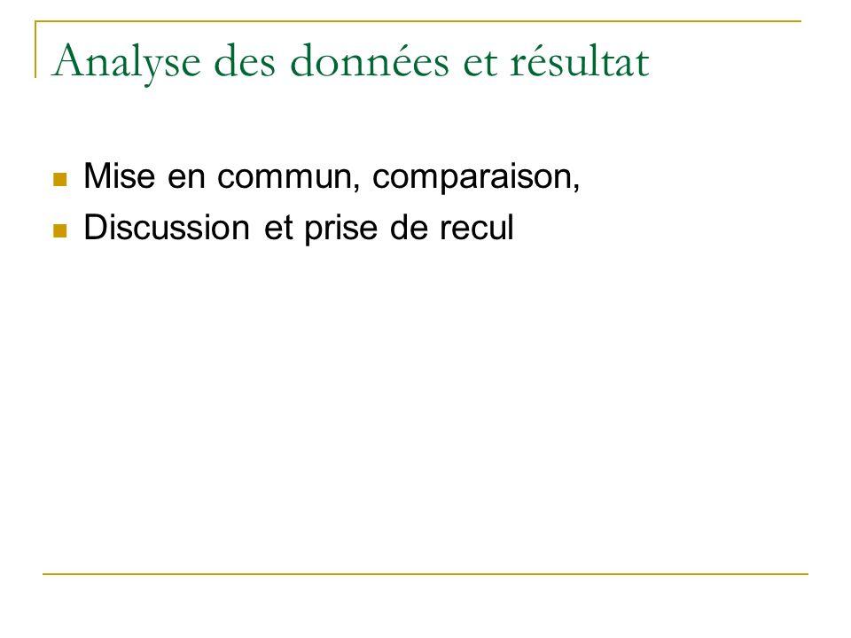 Analyse des données et résultat Mise en commun, comparaison, Discussion et prise de recul