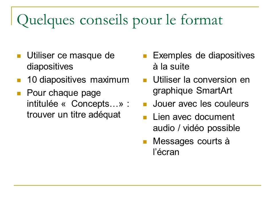 Utiliser ce masque de diapositives 10 diapositives maximum Pour chaque page intitulée « Concepts…» : trouver un titre adéquat Exemples de diapositives