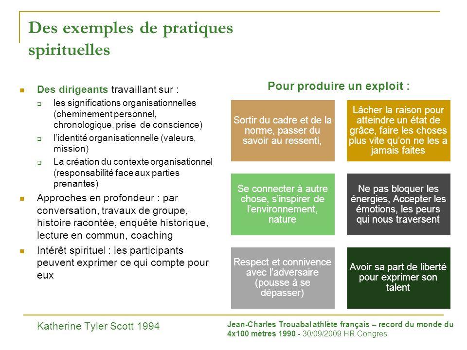 Des exemples de pratiques spirituelles Des dirigeants travaillant sur : les significations organisationnelles (cheminement personnel, chronologique, p