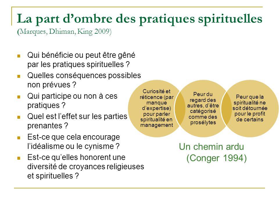 La part dombre des pratiques spirituelles (Marques, Dhiman, King 2009) Qui bénéficie ou peut être gêné par les pratiques spirituelles ? Quelles conséq