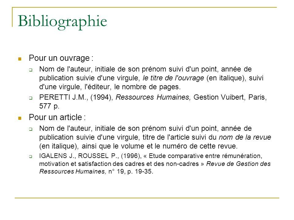 Bibliographie Pour un ouvrage : Nom de l'auteur, initiale de son prénom suivi d'un point, année de publication suivie d'une virgule, le titre de l'ouv