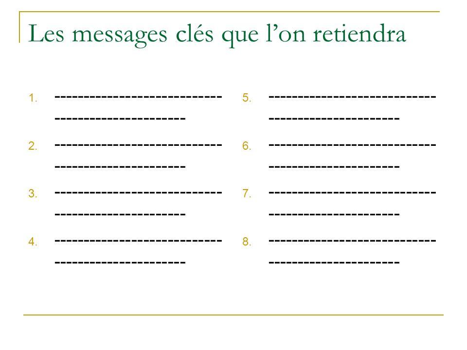 Les messages clés que lon retiendra 1. ---------------------------- ---------------------- 2. ---------------------------- ---------------------- 3. -