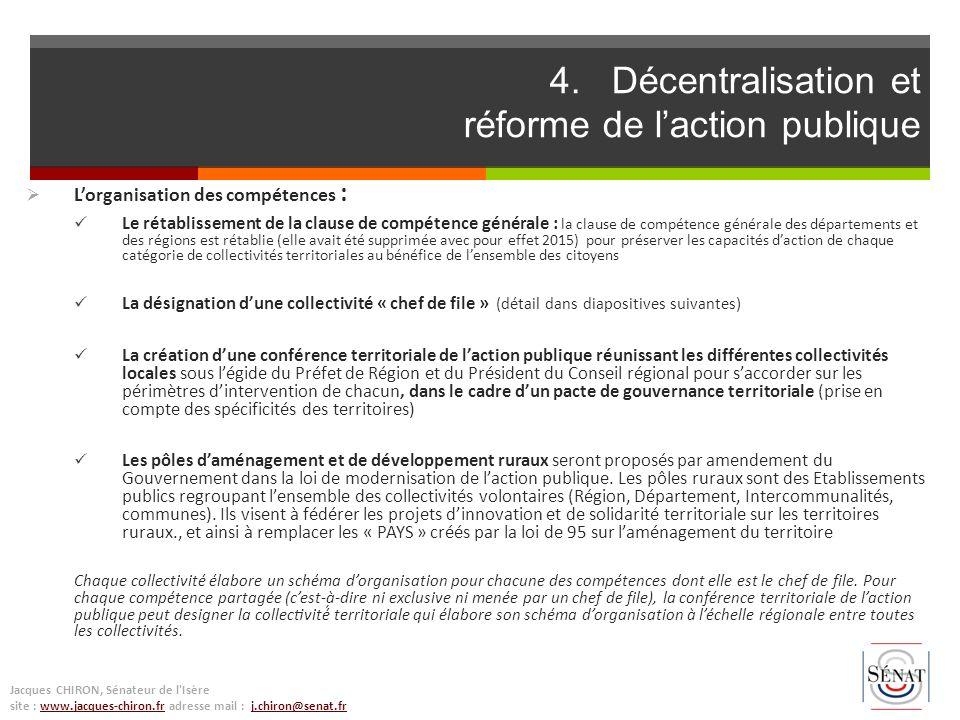 Lorganisation des compétences : Le rétablissement de la clause de compétence générale : la clause de compétence générale des départements et des régio