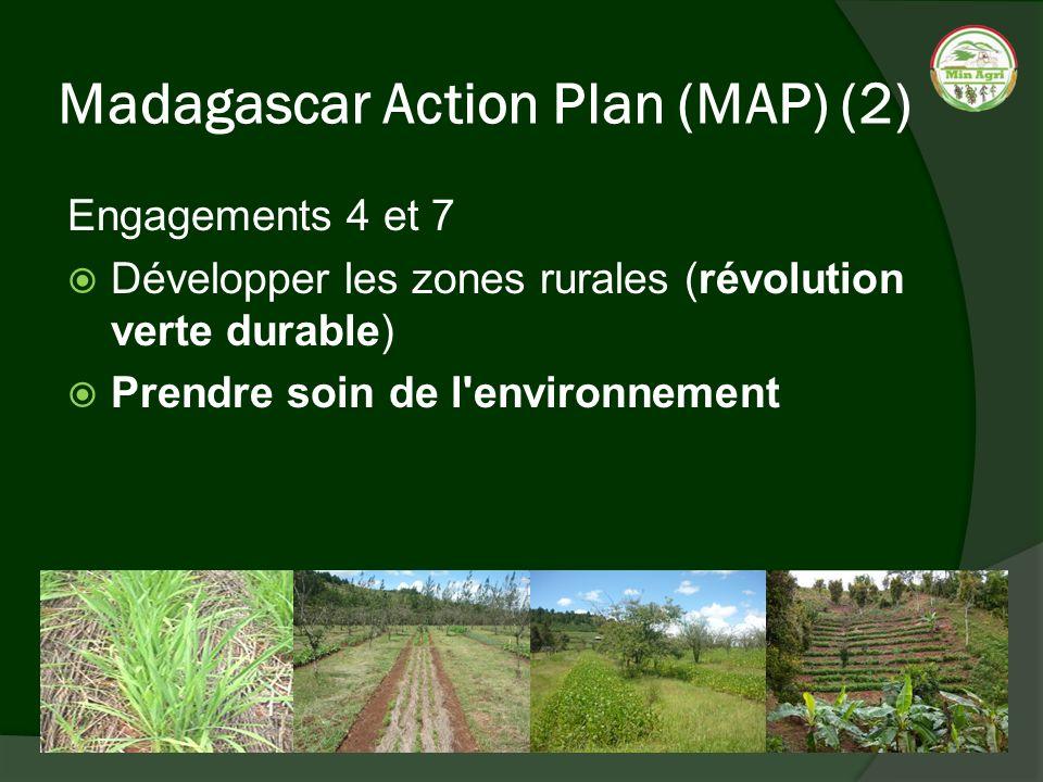 Madagascar Action Plan (MAP) (2) Engagements 4 et 7 Développer les zones rurales (révolution verte durable) Prendre soin de l'environnement