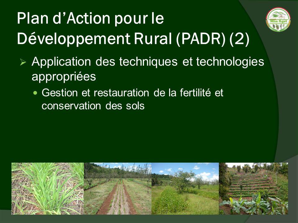 Plan dAction pour le Développement Rural (PADR) (2) Application des techniques et technologies appropriées Gestion et restauration de la fertilité et