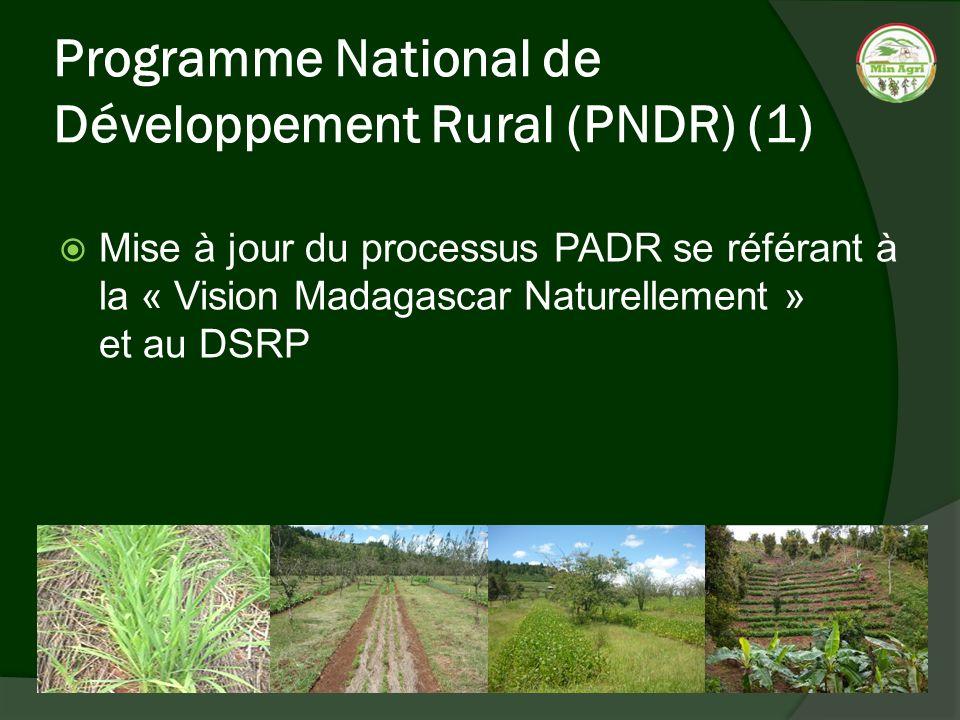 Programme National de Développement Rural (PNDR) (1) Mise à jour du processus PADR se référant à la « Vision Madagascar Naturellement » et au DSRP