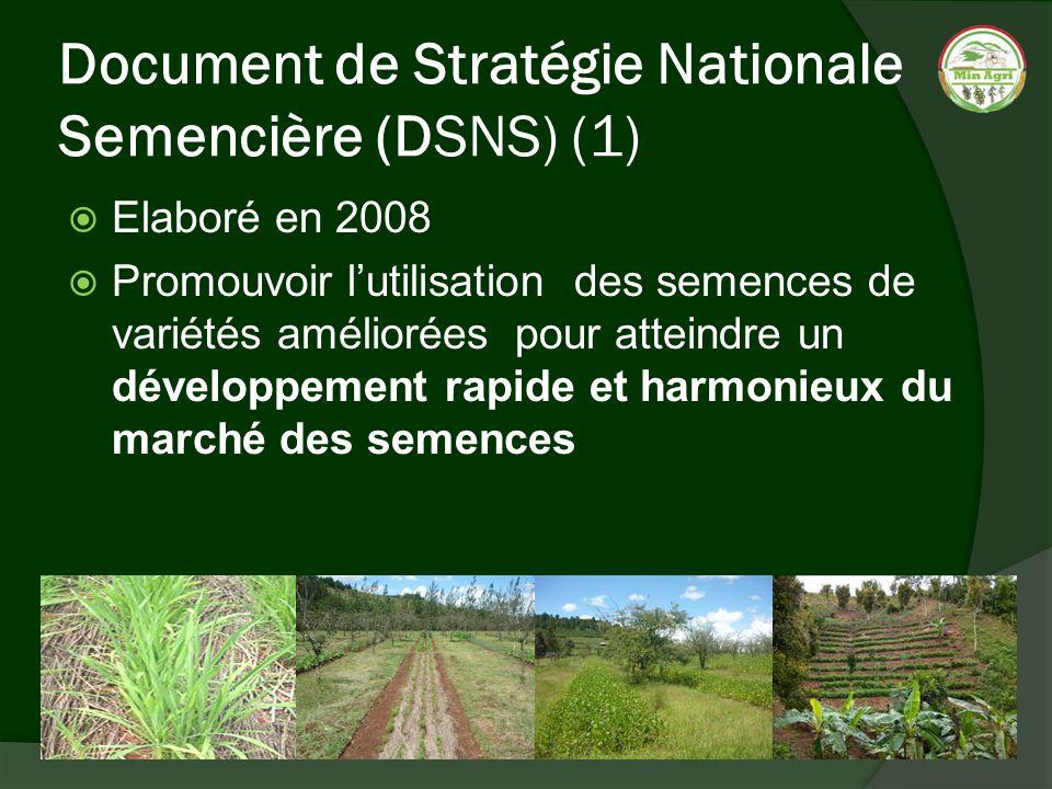 Document de Stratégie Nationale Semencière (DSNS) (1) Elaboré en 2008 Promouvoir lutilisation des semences de variétés améliorées pour atteindre un dé