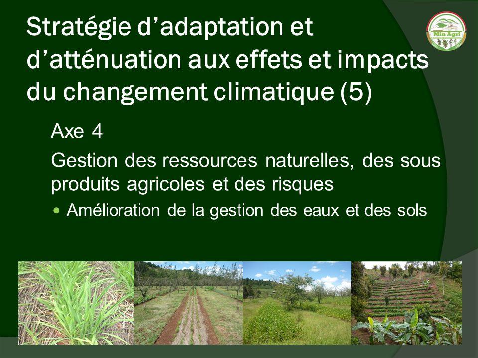 Stratégie dadaptation et datténuation aux effets et impacts du changement climatique (5) Axe 4 Gestion des ressources naturelles, des sous produits ag