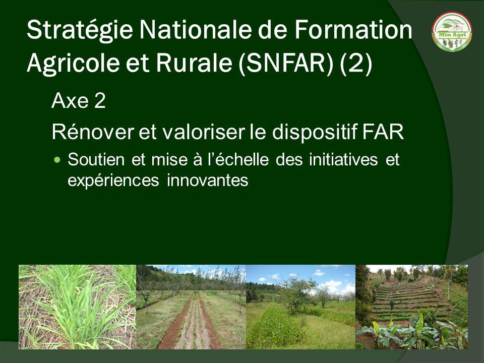 Stratégie Nationale de Formation Agricole et Rurale (SNFAR) (2) Axe 2 Rénover et valoriser le dispositif FAR Soutien et mise à léchelle des initiative