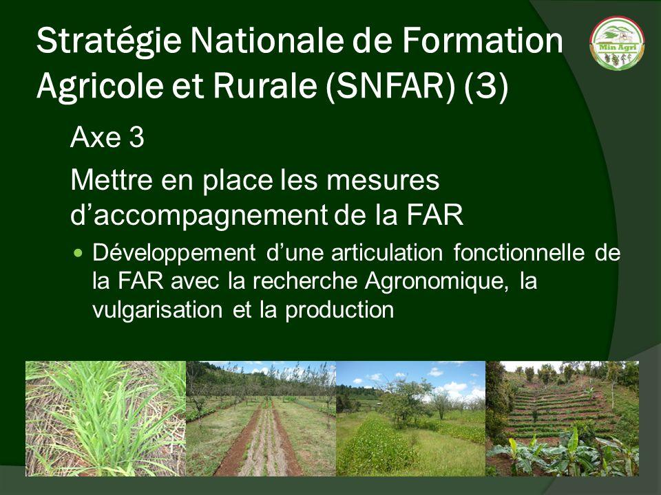 Stratégie Nationale de Formation Agricole et Rurale (SNFAR) (3) Axe 3 Mettre en place les mesures daccompagnement de la FAR Développement dune articul