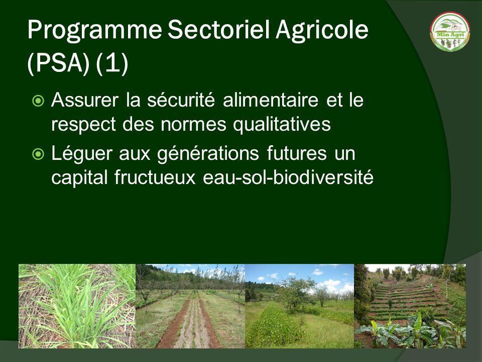 Programme Sectoriel Agricole (PSA) (1) Assurer la sécurité alimentaire et le respect des normes qualitatives Léguer aux générations futures un capital