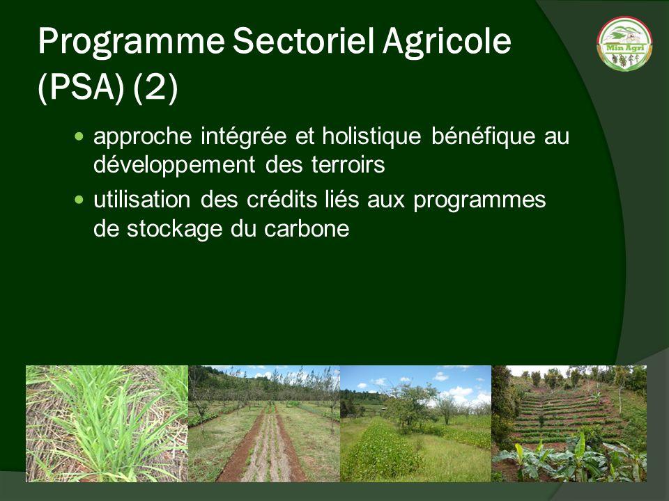 Programme Sectoriel Agricole (PSA) (2) approche intégrée et holistique bénéfique au développement des terroirs utilisation des crédits liés aux progra