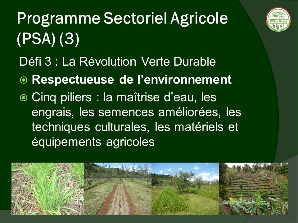 Programme Sectoriel Agricole (PSA) (3) Défi 3 : La Révolution Verte Durable Respectueuse de lenvironnement Cinq piliers : la maîtrise deau, les engrai