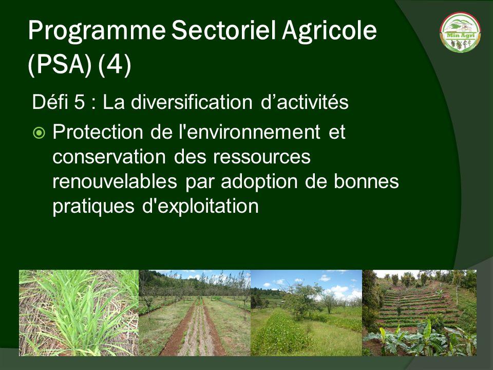 Programme Sectoriel Agricole (PSA) (4) Défi 5 : La diversification dactivités Protection de l'environnement et conservation des ressources renouvelabl