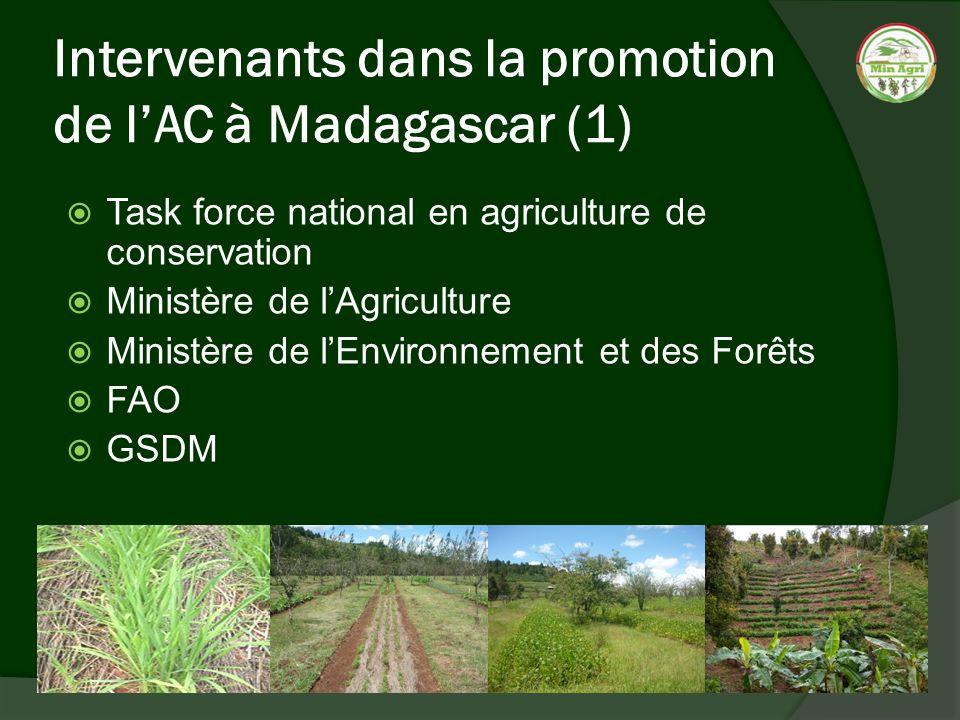 Intervenants dans la promotion de lAC à Madagascar (1) Task force national en agriculture de conservation Ministère de lAgriculture Ministère de lEnvi