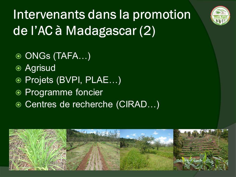 Intervenants dans la promotion de lAC à Madagascar (2) ONGs (TAFA…) Agrisud Projets (BVPI, PLAE…) Programme foncier Centres de recherche (CIRAD…)