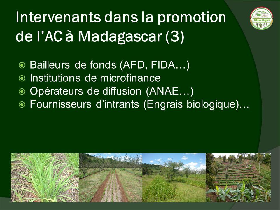 Intervenants dans la promotion de lAC à Madagascar (3) Bailleurs de fonds (AFD, FIDA…) Institutions de microfinance Opérateurs de diffusion (ANAE…) Fo