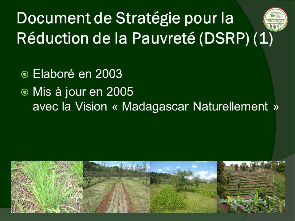 Document de Stratégie pour la Réduction de la Pauvreté (DSRP) (1) Elaboré en 2003 Mis à jour en 2005 avec la Vision « Madagascar Naturellement »