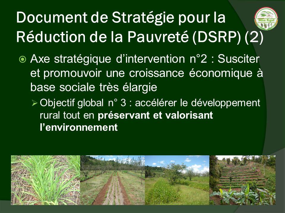 Document de Stratégie pour la Réduction de la Pauvreté (DSRP) (2) Axe stratégique dintervention n°2 : Susciter et promouvoir une croissance économique