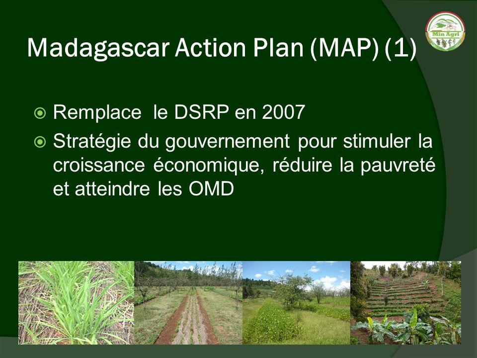 Madagascar Action Plan (MAP) (1) Remplace le DSRP en 2007 Stratégie du gouvernement pour stimuler la croissance économique, réduire la pauvreté et att