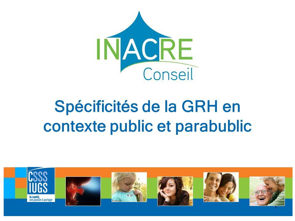 1 Spécificités de la GRH en contexte public et parabublic