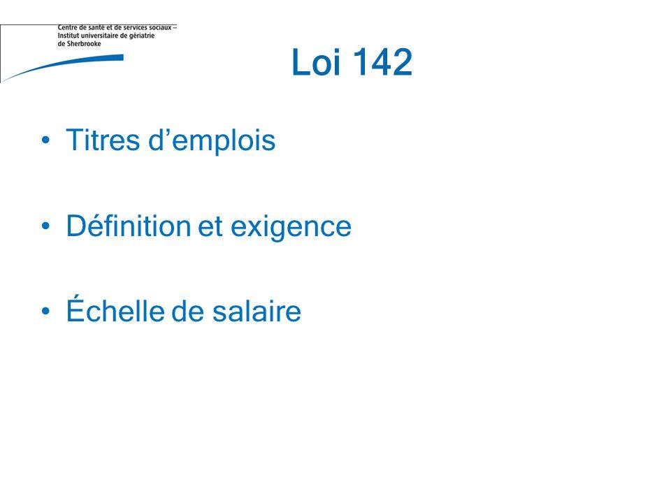 Loi 142 Titres demplois Définition et exigence Échelle de salaire