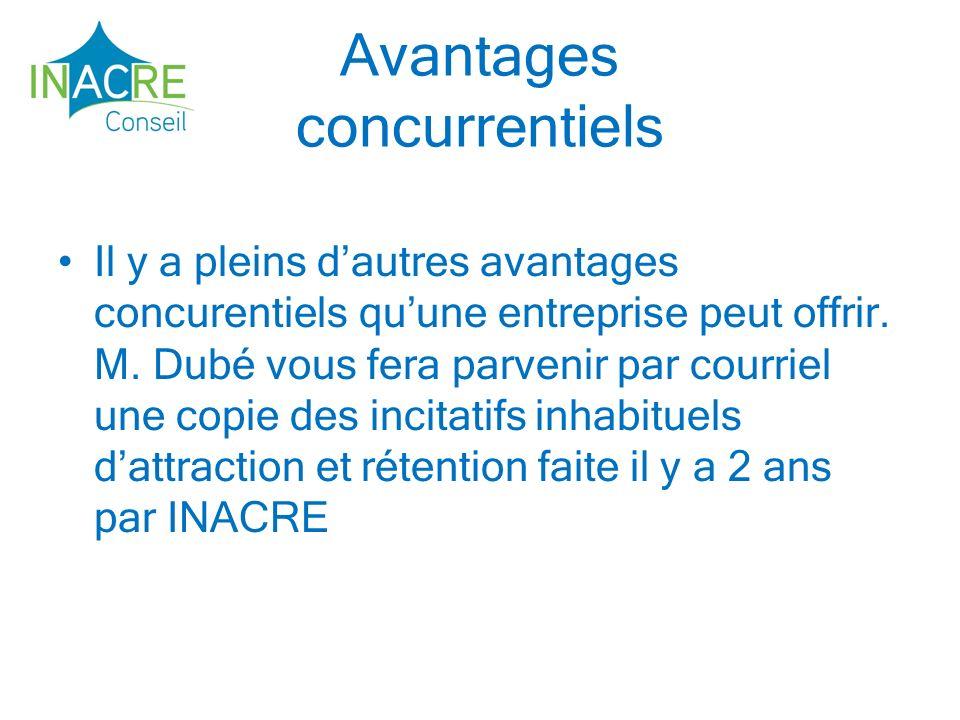 Avantages concurrentiels Il y a pleins dautres avantages concurentiels quune entreprise peut offrir.