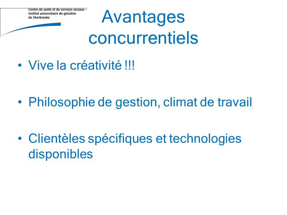 Avantages concurrentiels Vive la créativité !!! Philosophie de gestion, climat de travail Clientèles spécifiques et technologies disponibles