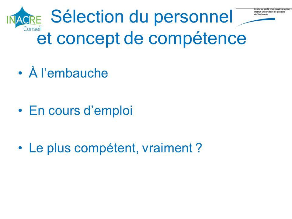 Sélection du personnel et concept de compétence À lembauche En cours demploi Le plus compétent, vraiment ?