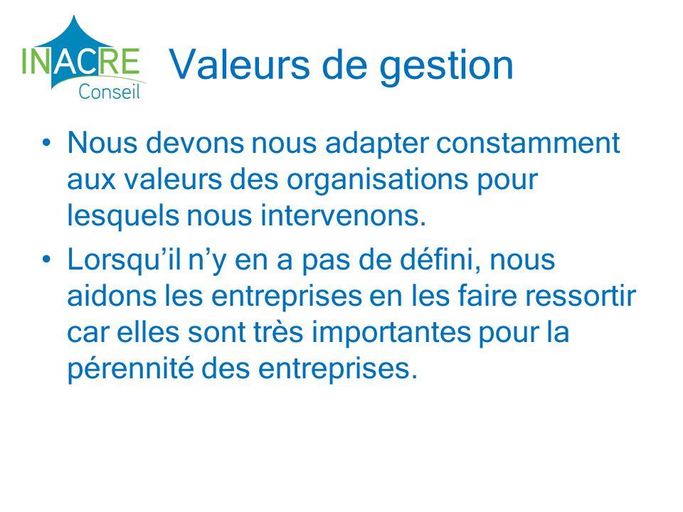 Valeurs de gestion Nous devons nous adapter constamment aux valeurs des organisations pour lesquels nous intervenons.