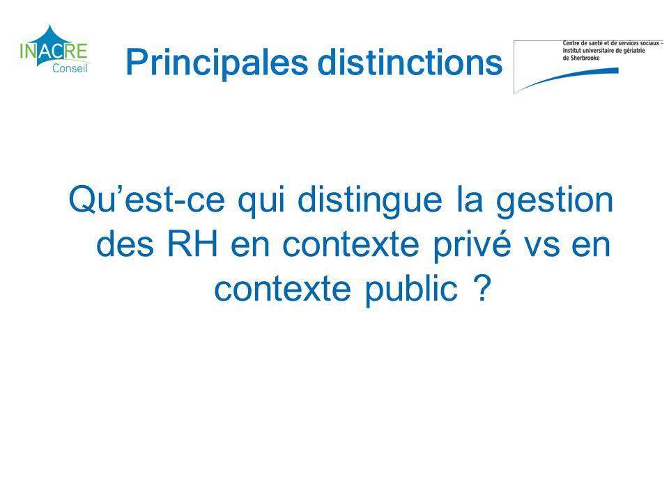 Principales distinctions Quest-ce qui distingue la gestion des RH en contexte privé vs en contexte public ?