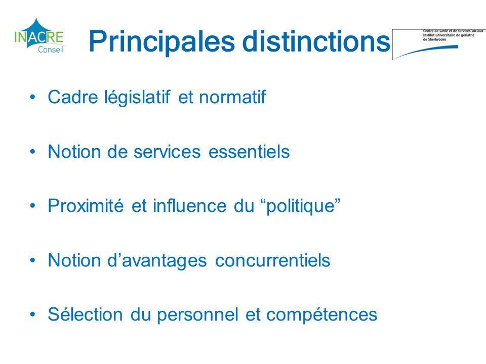 Principales distinctions Cadre législatif et normatif Notion de services essentiels Proximité et influence du politique Notion davantages concurrentiels Sélection du personnel et compétences