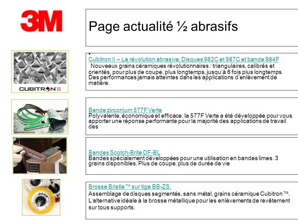 Page actualité ½ abrasifs Cubitron II – La révolution abrasive, Disques 982C et 987C et bande 984F Nouveaux grains céramiques révolutionnaires : trian