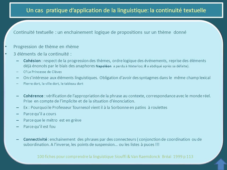 Continuité textuelle : un enchainement logique de propositions sur un thème donné Progression de thème en rhème 3 éléments de la continuité : – Cohési