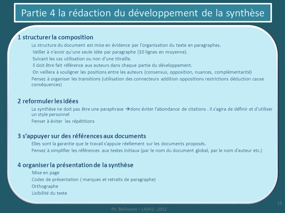 Partie 4 la rédaction du développement de la synthèse 1 structurer la composition La structure du document est mise en évidence par lorganisation du t