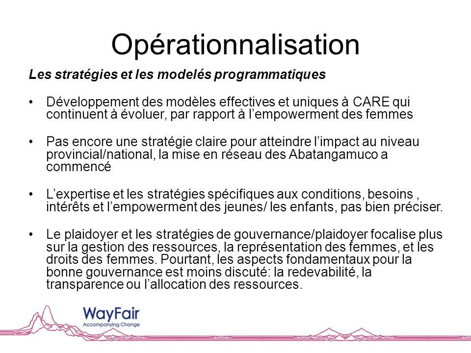 Opérationnalisation Les stratégies et les modelés programmatiques Développement des modèles effectives et uniques à CARE qui continuent à évoluer, par