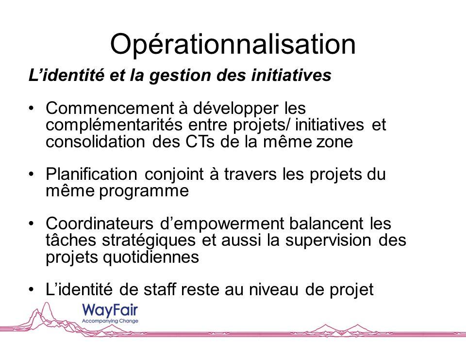 Opérationnalisation Lidentité et la gestion des initiatives Commencement à développer les complémentarités entre projets/ initiatives et consolidation