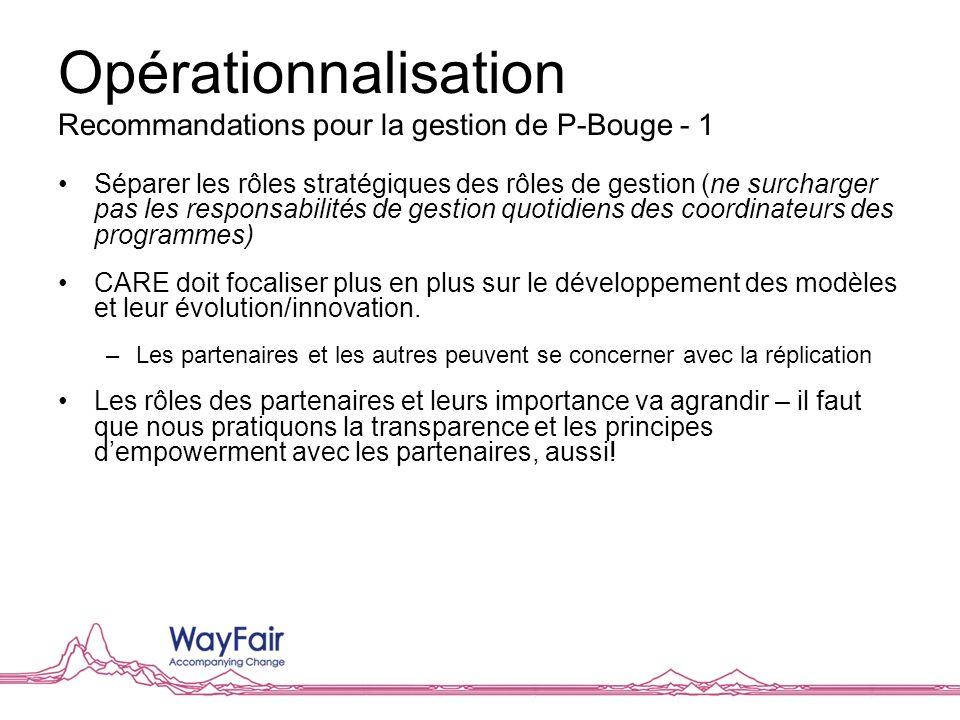 Opérationnalisation Recommandations pour la gestion de P-Bouge - 1 Séparer les rôles stratégiques des rôles de gestion (ne surcharger pas les responsa