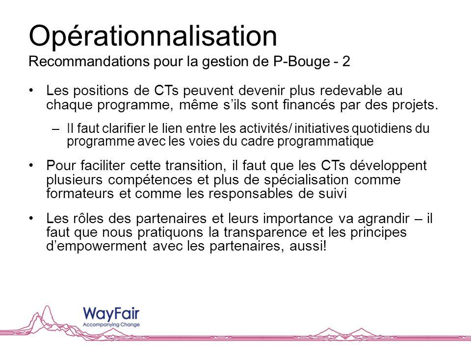 Opérationnalisation Recommandations pour la gestion de P-Bouge - 2 Les positions de CTs peuvent devenir plus redevable au chaque programme, même sils