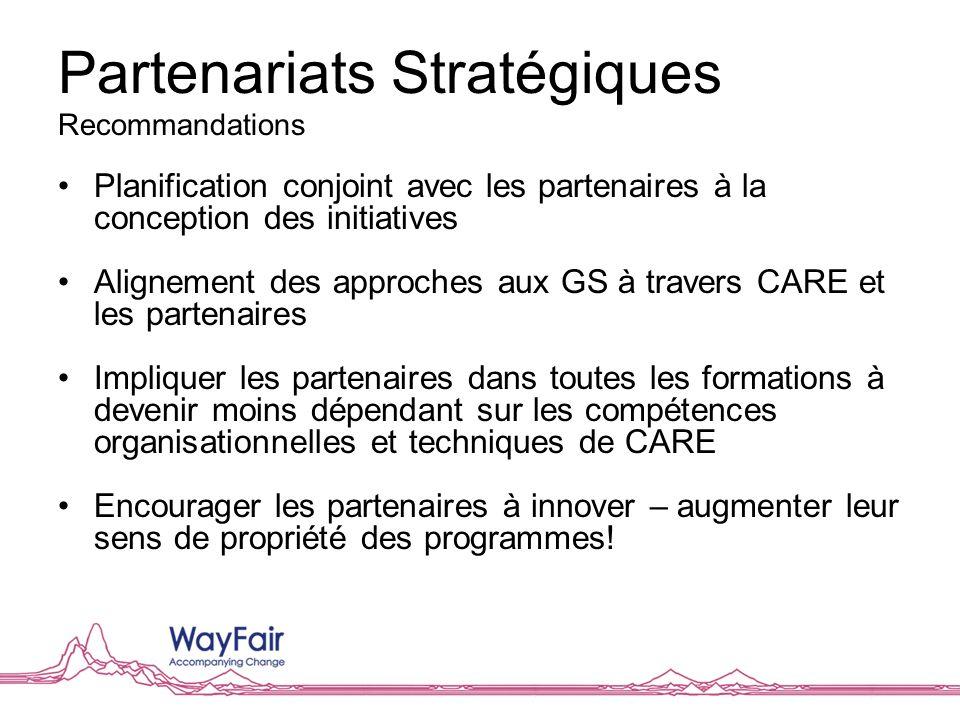 Planification conjoint avec les partenaires à la conception des initiatives Alignement des approches aux GS à travers CARE et les partenaires Implique