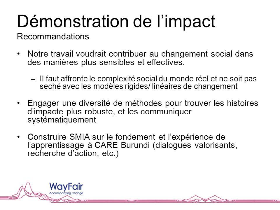 Démonstration de limpact Recommandations Notre travail voudrait contribuer au changement social dans des manières plus sensibles et effectives. –Il fa