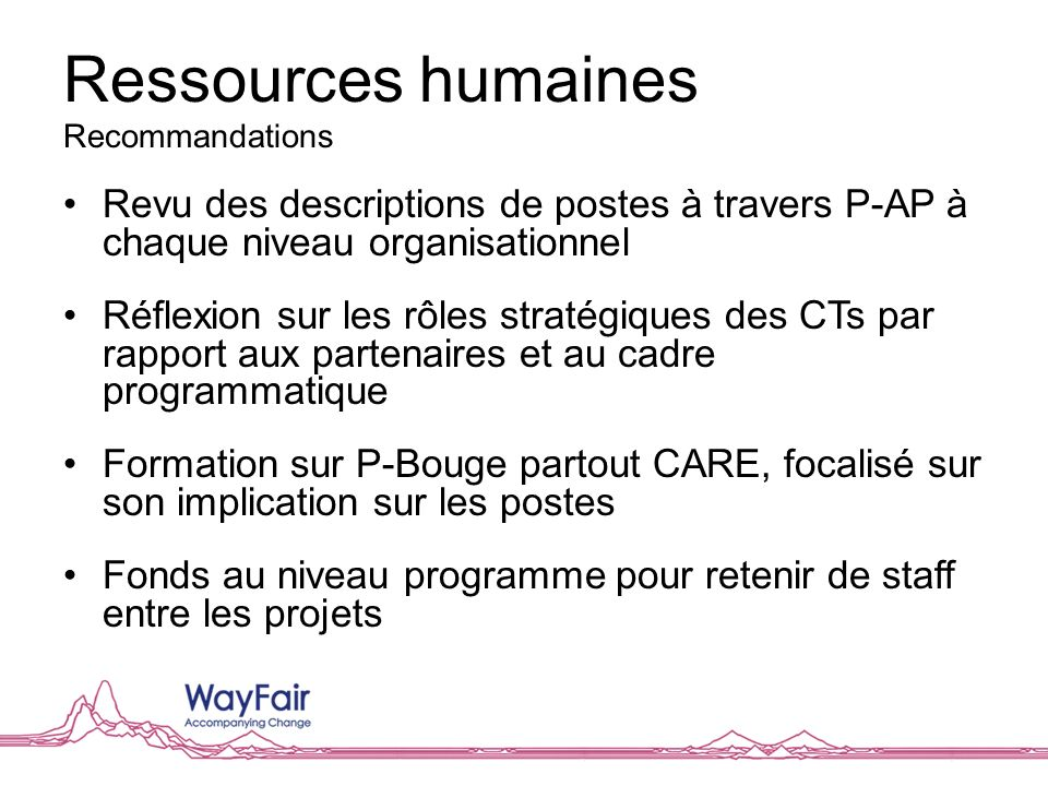 Ressources humaines Recommandations Revu des descriptions de postes à travers P-AP à chaque niveau organisationnel Réflexion sur les rôles stratégique