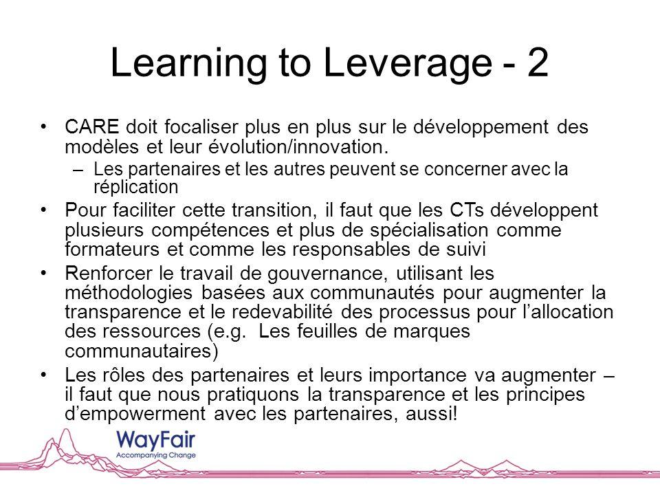 Learning to Leverage - 2 CARE doit focaliser plus en plus sur le développement des modèles et leur évolution/innovation. –Les partenaires et les autre