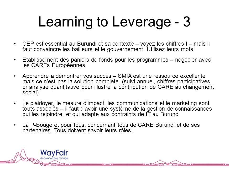 Learning to Leverage - 3 CEP est essential au Burundi et sa contexte – voyez les chiffres!! – mais il faut convaincre les bailleurs et le gouvernement
