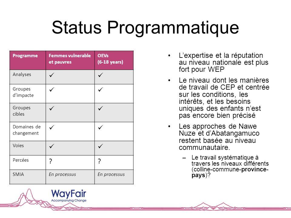 Status Programmatique Lexpertise et la réputation au niveau nationale est plus fort pour WEP Le niveau dont les manières de travail de CEP et centrée