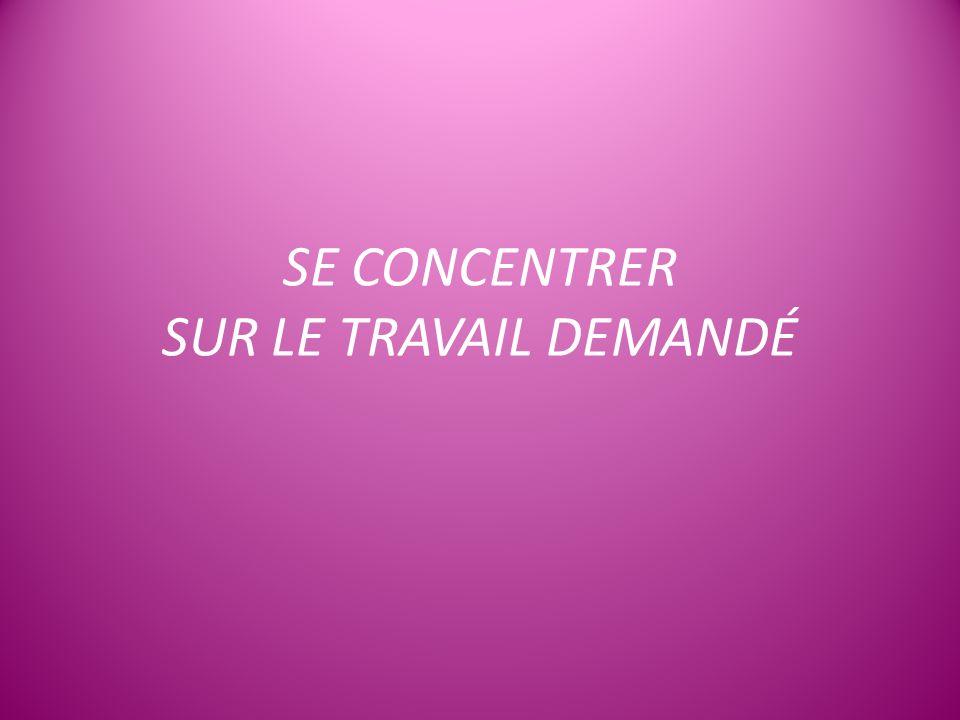SE CONCENTRER SUR LE TRAVAIL DEMANDÉ