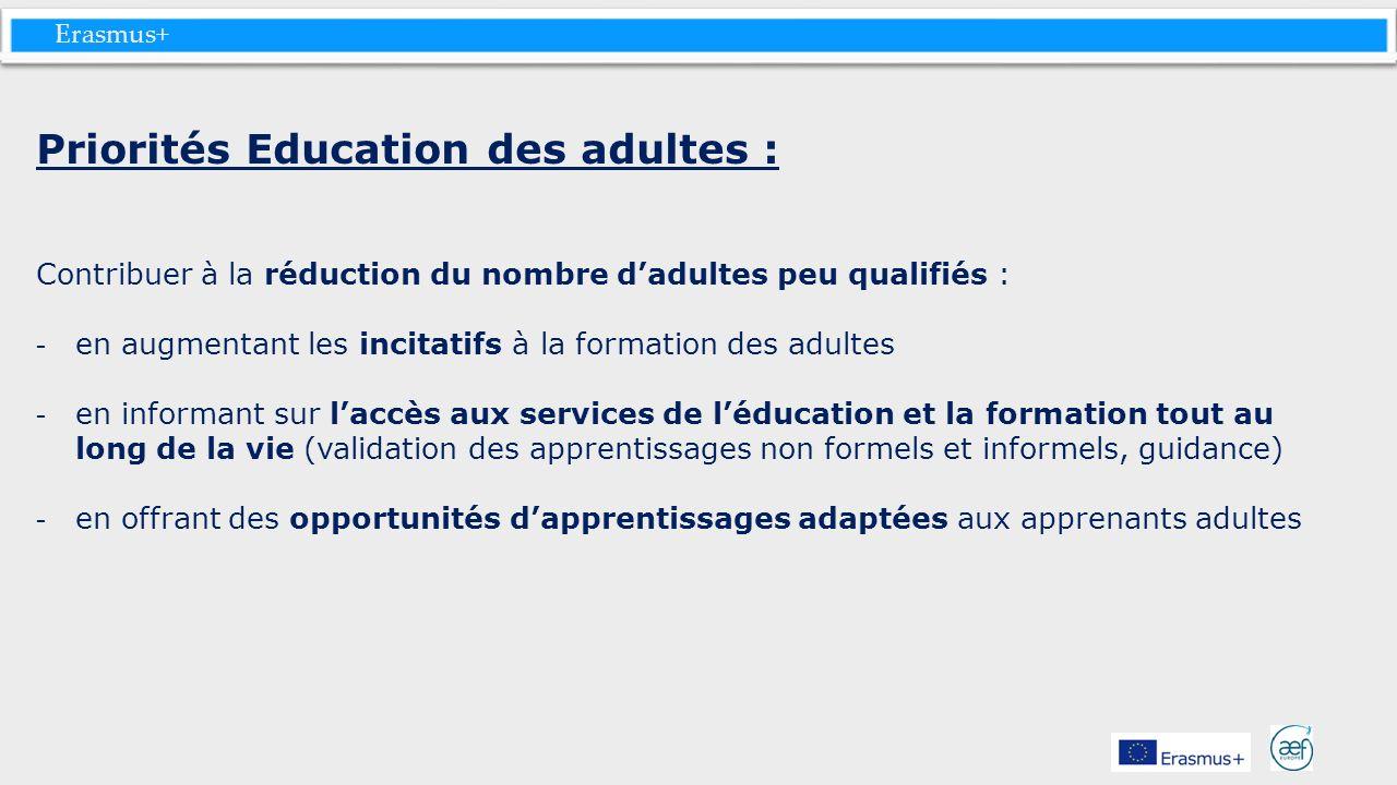 Erasmus+ Priorités Education des adultes : Contribuer à la réduction du nombre dadultes peu qualifiés : - en augmentant les incitatifs à la formation