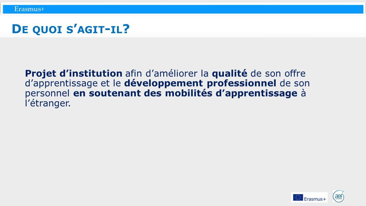 Erasmus+ Projet dinstitution afin daméliorer la qualité de son offre dapprentissage et le développement professionnel de son personnel en soutenant de